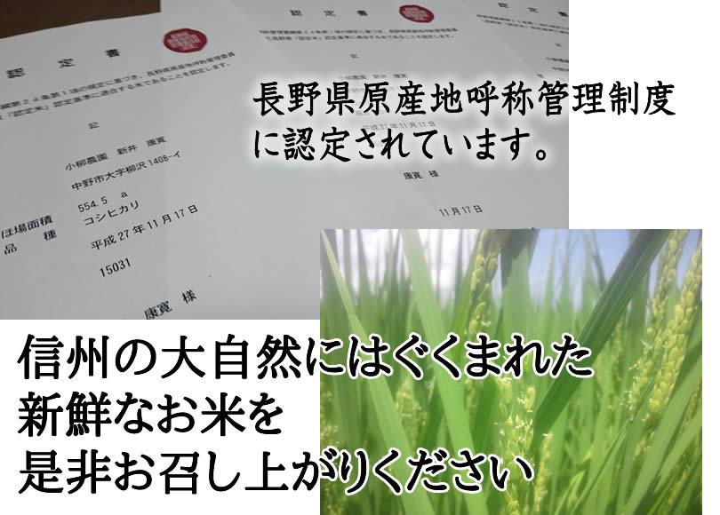 信州の大自然にはぐくまれた 新鮮なお米を 是非お召し上がりください